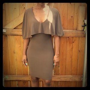 Olive Cape bodycon dress